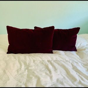 TWO Rectangular Plum-Colored Throw Pillows
